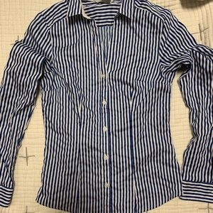 H&M Blue White Stripe Fitted Collar Shirt Button